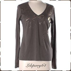 Elie Tahari.. NWT Gold Foil Pullover Tee